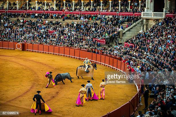A general view of La Maestranza bullring during a bullfight with Vitorino Martin ranch fighting bull during a bullfight at La Maestranza bullring on...