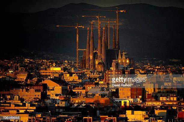 A general view of La Sagrada Familia on November 3 2010 in Barcelona Spain Pope Benedit XVI will visit Barcelona to consecrate La Sagragrada Familia...