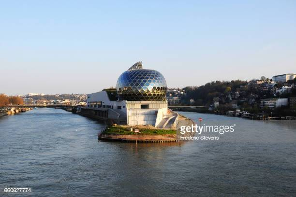 General view of La Seine Musicale which is positioned on an island in the Seine river to the west of Paris on the site of a former Renault car...
