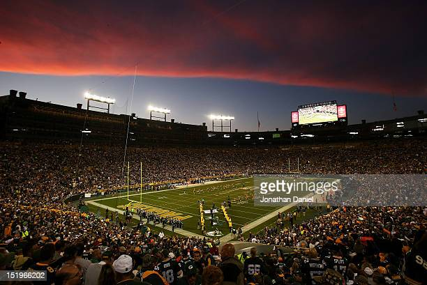 A general view of Lambeau Field as fans arrive before the game between the Green Bay Packers and the Chicago Bears on September 13 2012 in Green Bay...