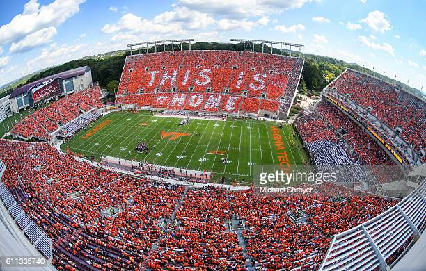 A general view of Lane Stadium during an Orange Effect for the game between the Virginia Tech Hokies and the East Carolina Pirates on September 24...