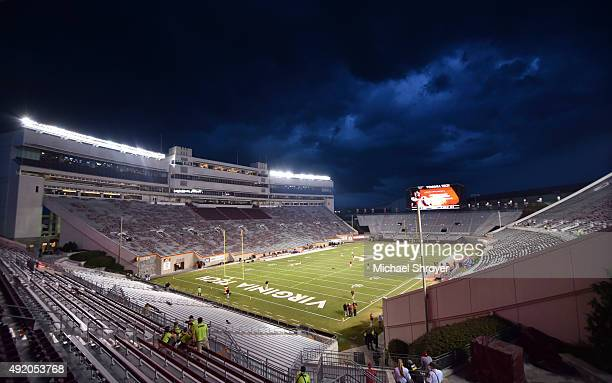 A general view of Lane Stadium prior to the game between the Virginia Tech Hokies and the North Carolina State Wolfpack on October 9 2015 in...
