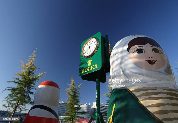 A general view of large Babushka dolls during previews ahead of the Russian Formula One Grand Prix at Sochi Autodrom on October 9 2014 in Sochi Russia
