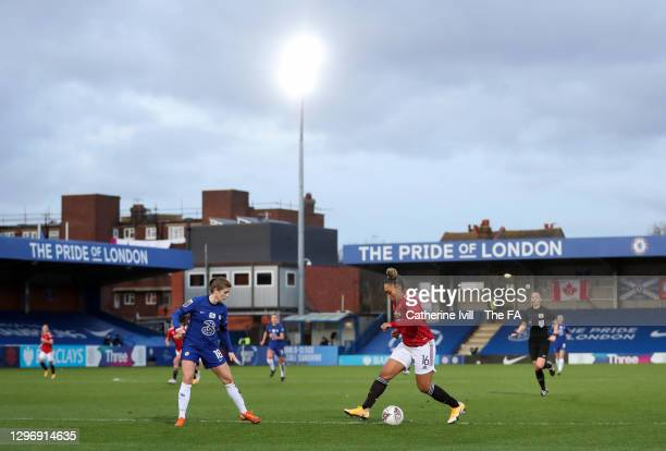 General view of Lauren James of Manchester United and Maren Mjelde of Chelsea during the Barclays FA Women's Super League match between Chelsea Women...