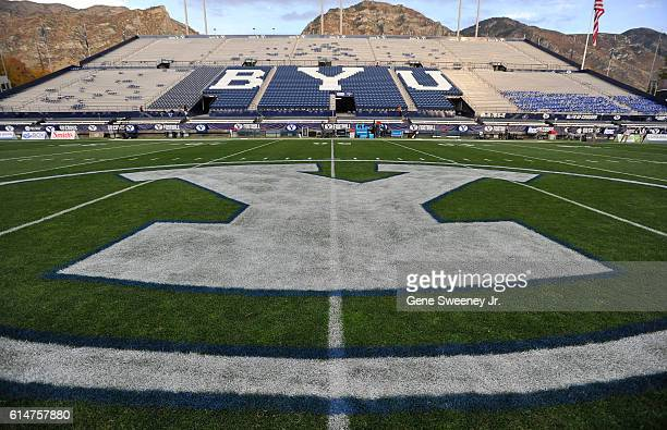 General view of LaVell Edwards Stadium and the field logo before the game between the Mississippi State Bulldogs and the Brigham Young Cougars on...