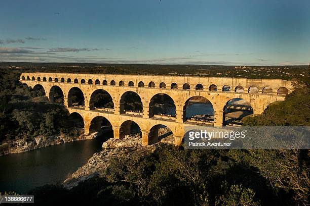 General view of Le Pont Du Gard on August 18 2011 in Nimes France At night the PontDuGard is transformed with a light show created by contemporary...