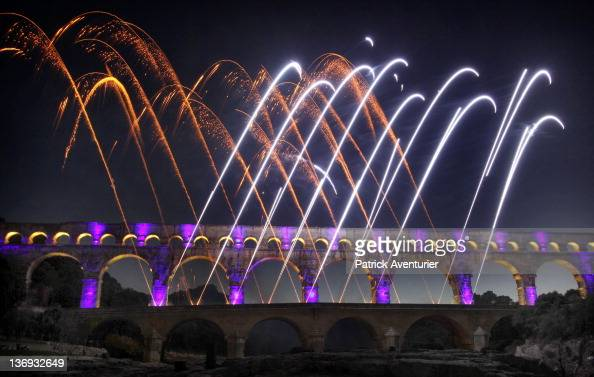General View Of Le Pont Du Gard With The Light Show On