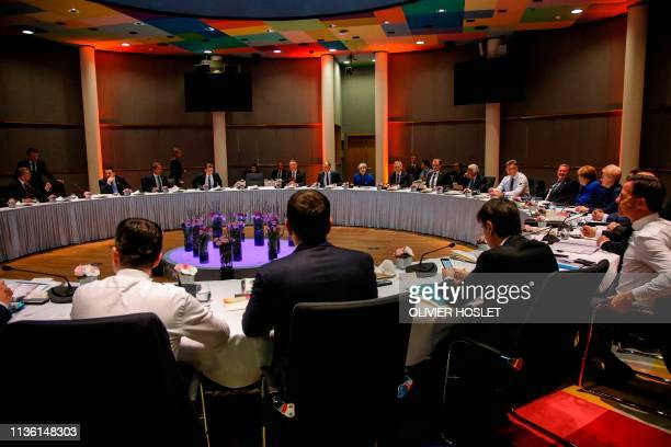 A general view of leaders during a European Council meeting on Brexit at The Europa Building at The European Parliament in Brussels on April 10 2019