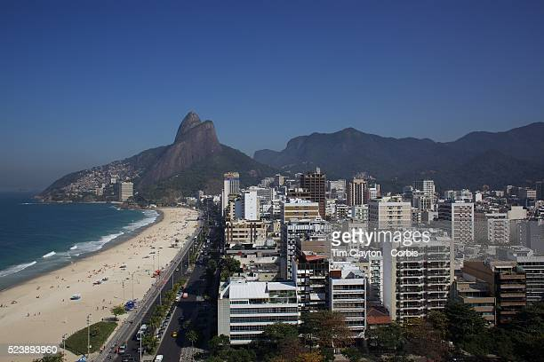 A general view of Leblon and Leblon beach showing the Dois Irmaos mountain peaks in the background Rio de Janeiro Brazil 30th July 2010 Photo Tim...