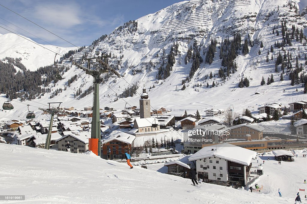 . General view of Lech, the usual holiday resort of Queen Beatrix of The Netherlands and members of the Dutch royal family, on February 17, 2013 in Lech, Austria. In the middle lies the Parish Church of St Nicholas where a service of prayers was held in the resort of Lech today, marking the first anniversary of the ski-ing accident that left Prince Friso of The Netherlands critically injured. Prince Friso of Orange-Nassau (44) second son of Queen Beatrix of The Netherlands, was hit by an avalanche while ski-ing off-piste in the resort of Lech, under which he remained buried for 20 minutes. He suffered brain damage due to shortage of oxygen and has remained in a coma since the accident.
