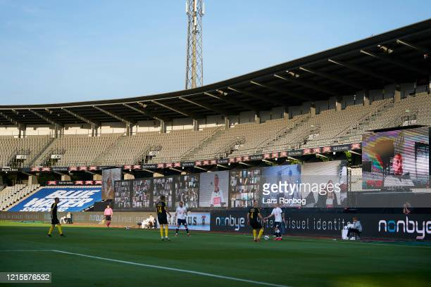 General view of LED screens with fans following the game via zoom during the Danish 3F Superliga match between AGF Aarhus and Randers FC at Ceres...