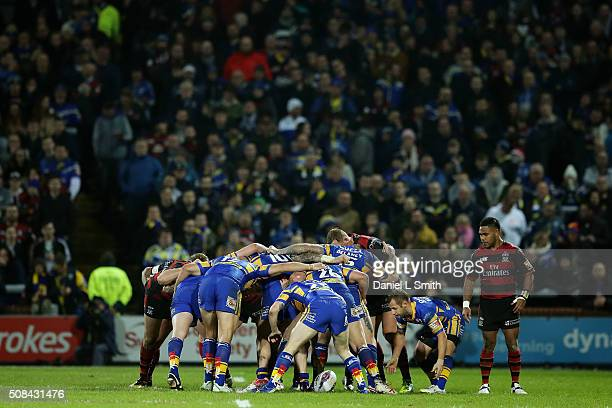 A general view of Leeds Rhinos and Wolverhampton Wolves in the scrum during the First Utility Super League opening match between Leeds Rhinos and...