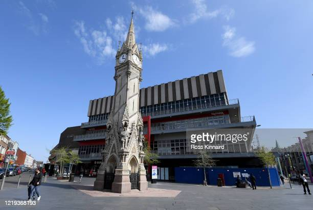 General view of Leicester city centre on April 17, 2020 in Leicester, England. In a press conference on Thursday, First Secretary of State Dominic...
