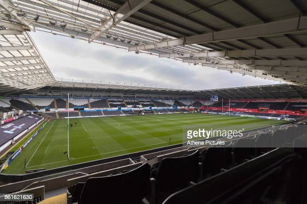 A general view of Liberty Stadium prior to kick off of the Champions Cup Round 1 match between Ospreys and Clermont at The Liberty Stadium on October...