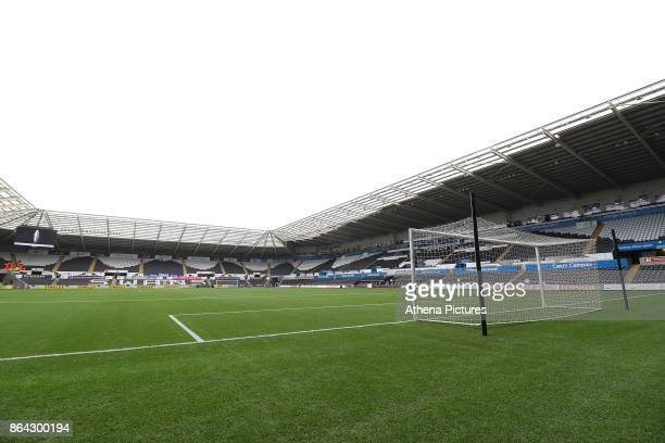 A general view of Liberty Stadium prior to kick off of the Premier League match between Swansea City and Leicester City at The Liberty Stadium on...