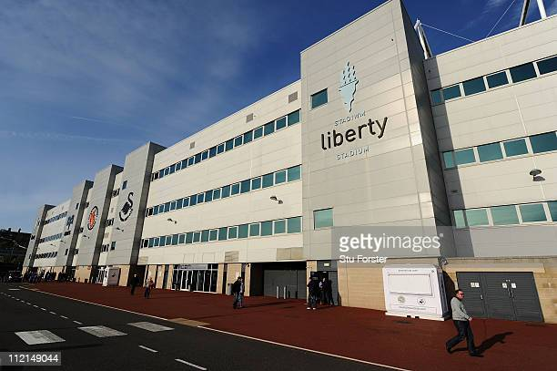 A general view of Liberty Stadium used by both Swansea City and Ospreys Rugby on April 12 2011 in Swansea Wales