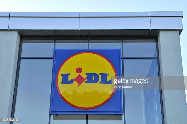 A general view of Lidl signage at a new store on January 28 2016 in Eastwood Leigh on Sea England