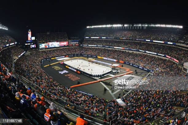 A general view of Lincoln Financial Field during the 2019 Coors Light NHL Stadium Series between the Philadelphia Flyers and the Pittsburgh Penguins...