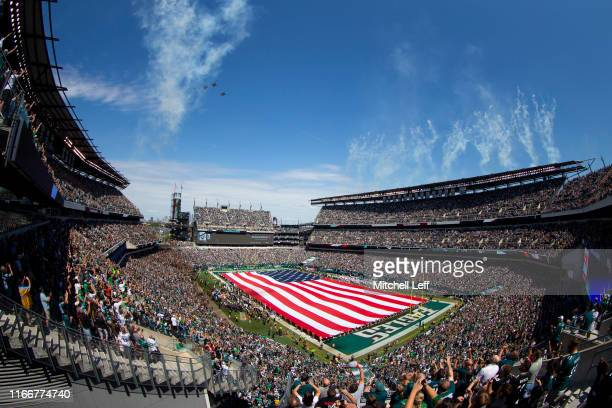 General view of Lincoln Financial Field during the national anthem prior to the game between the Washington Redskins and Philadelphia Eagles on...