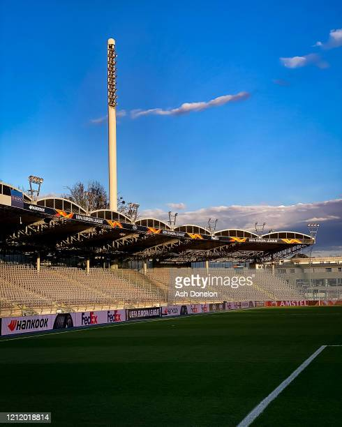 General view of Linzer Stadium ahead of during the UEFA Europa League round of 16 first leg match between LASK and Manchester United at Linzer...