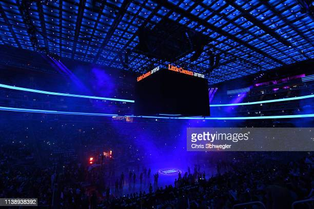A general view of Little Caesars Arena before Game Four of Round One between the Milwaukee Bucks and the Detroit Pistons during the 2019 NBA Playoffs...