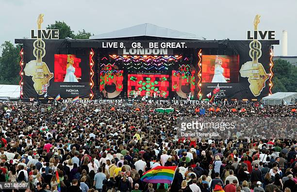 A general view of 'Live 8 London' in Hyde Park on July 2 2005 in London England The free concert is one of ten simultaneous international gigs...