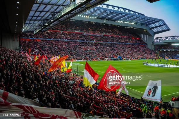 General view of Liverpool before the UEFA Champions League Quarter Final first leg match between Liverpool and Porto at Anfield on April 09 2019 in...