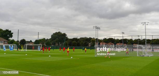 General View of Liverpool during a training session at Melwood Training Ground on August 28 2018 in Liverpool England