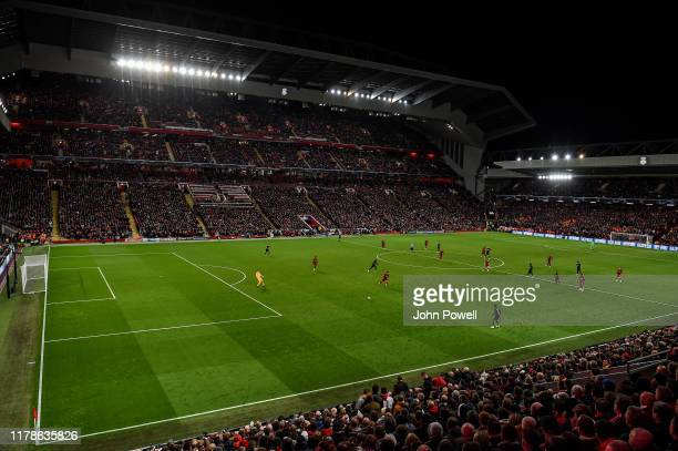 General view of Liverpool during the UEFA Champions League group E match between Liverpool FC and RB Salzburg at Anfield on October 02 2019 in...