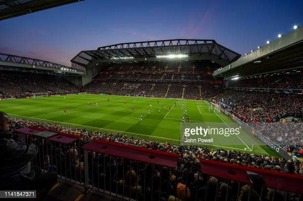 General view of Liverpool during the UEFA Champions League Quarter Final first leg match between Liverpool and Porto at Anfield on April 09 2019 in...