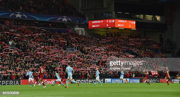 General view of Liverpool during the UEFA Champions League Quarter Final Leg One match between Liverpool and Manchester City at Anfield on April 4...