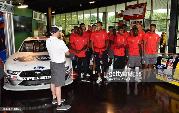 General view of Liverpool players during a tour of Roush Fenway Racing on July 21 2018 in Charlotte North Carolina