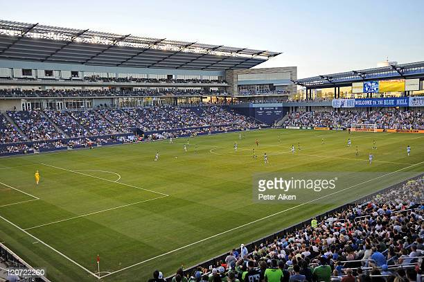 A general view of LiveStrong Sporting Park during a game between Sporting Kansas City and the Seattle Sounders FC on August 6 2011 in Kansas City...