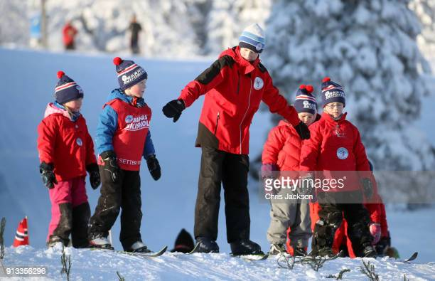 A general view of local nursery children taking part in afternoon ski sessions ahead of an event organised by the Norwegian Ski Federation attended...