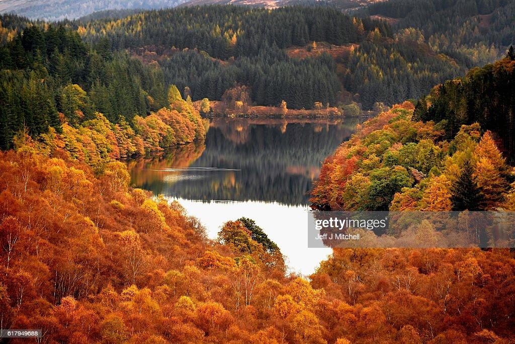 Beautiful Autumn Colours Are Seen Across Loch Lomond : News Photo