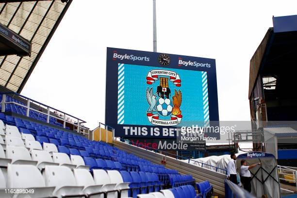 General view of logo of Coventry City seen on video screen at St Andrew's Trillion Trophy Stadium home of Coventry City for 2019/20 season prior to...