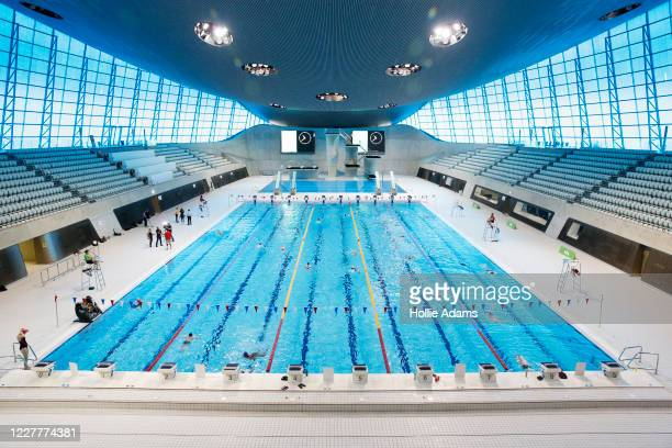 General view of London Aquatics Centre on July 25, 2020 in London, England. After further easing of the United Kingdom's coronavirus lockdown, indoor...