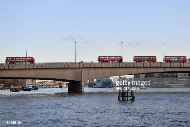 A general view of London Bridge is pictured in central London on November 29 after reports of shots being fired London Bridge across the River Thames...