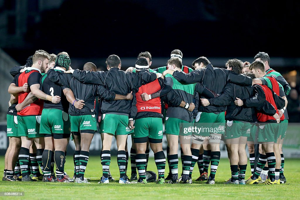 A general view of London Irish before the European Rugby Challenge Cup match between Agen and London Irish at stade Armandie on January 23, 2016 in Agen, France.