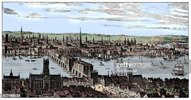 General view of London PreGreat Fire view of the City of London and the River Thames from a plan of the year 1666 On the South Bank is Southwark...