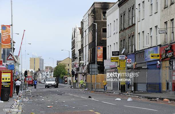 A general view of London road in Croydon south of London on August 10 following riots in the area on Monday night As masked youths burned down a...