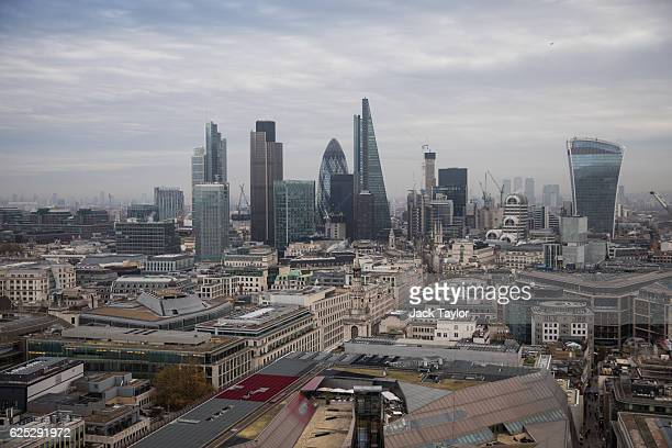 A general view of London skyscrapers from the top of St Paul's Cathedral on November 23 2016 in London England
