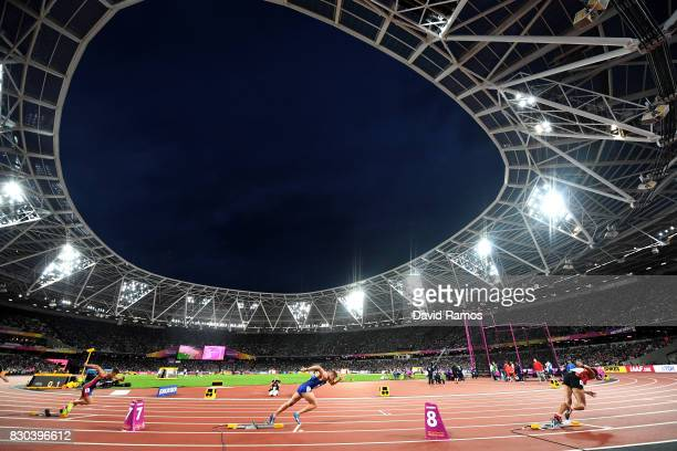General view of London Stadium from the start of a heat in the Men's Decathlon 400 metres during day eight of the 16th IAAF World Athletics...