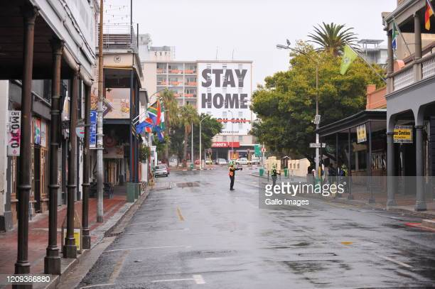 A general view of Long Street Cape Town and message that has been change in far background to Stay Home on Day Twelve of National Lockdown on April...