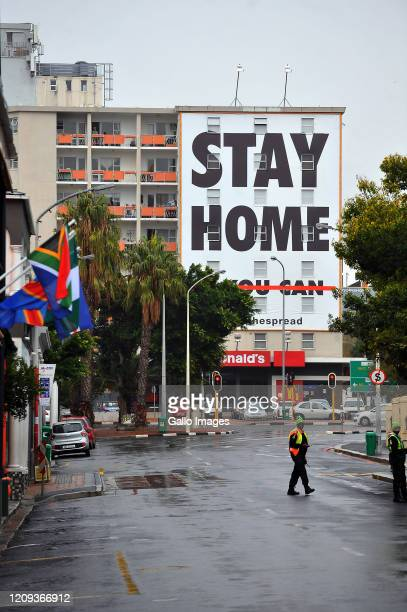 A general view of Long Street Cape Town and message that instructs people to stay home on Day Twelve of National Lockdown on April 07 2020 in Cape...