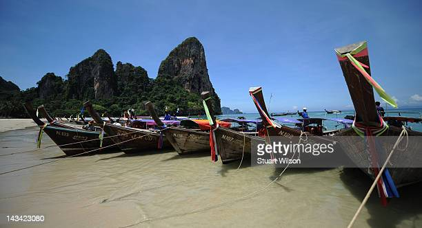 General view of Long Tail Boats at Rai Leh Beach in Krabi on April 23 2012 in UNSPECIFIED Thailand