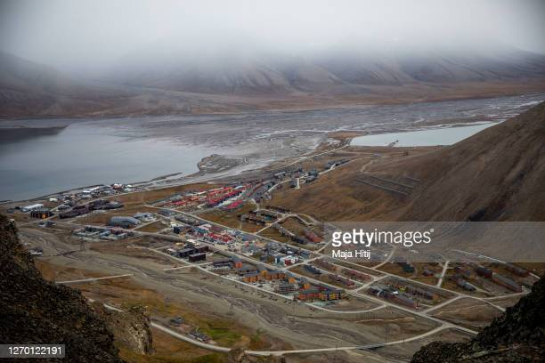 General view of Longyearbyen on August 28 2020 in Longyearbyen Norway Svalbard archipelago lies approximately 1200km north of the Arctic Circle...