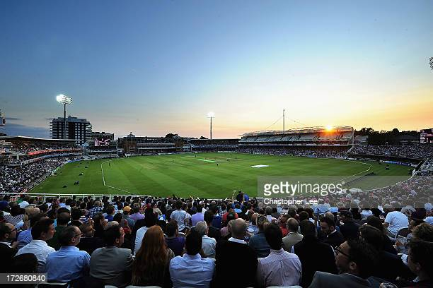 A general view of Lords Cricket Ground as the sunsets during the Friends Life T20 match between Middlesex Panthers and Essex Eagles at Lord's Cricket...