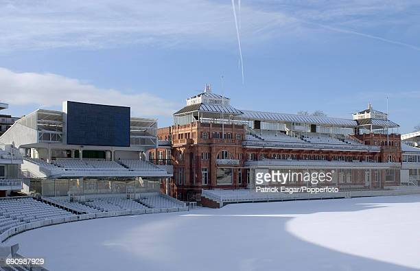 General view of Lord's Cricket Ground covered in snow 31st January 2003