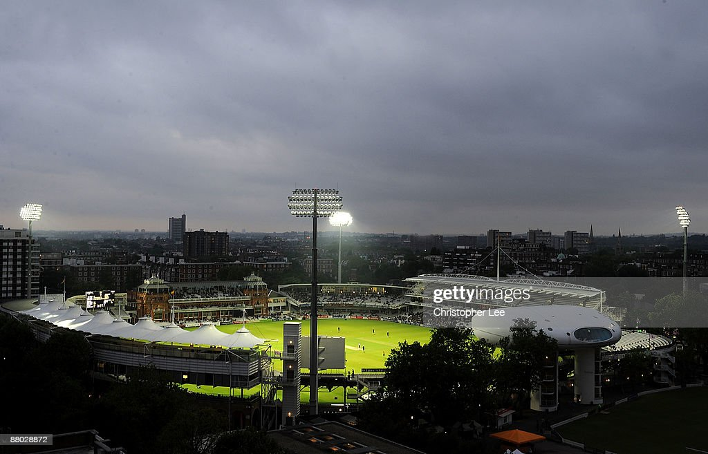 A general View of Lordu0027s Cricket Ground showing the new Telescopic Floodlights made by Abacus & Middlesex v Kent - Twenty20 Cup Photos and Images   Getty Images azcodes.com